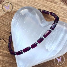 Garnet Tube Bead Bracelet